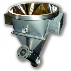 Angled screw feed hopper